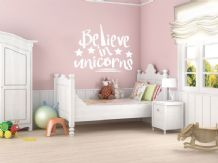 Fantasy 'Believe in unicorns' Wall Art Sticker, Modern Transfer, PVC Decal